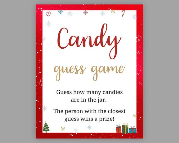Christmas Baby Shower Games Candy Guessing Game Guess How Etsy In 2020 Candy Guessing Game Christmas Baby Shower Baby Shower Games