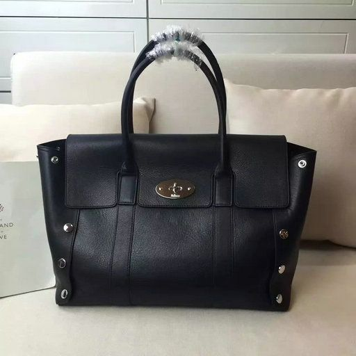 d0c61ea926 2016 A W Mulberry New Bayswater Tote Black Smooth Calf with Studs ...