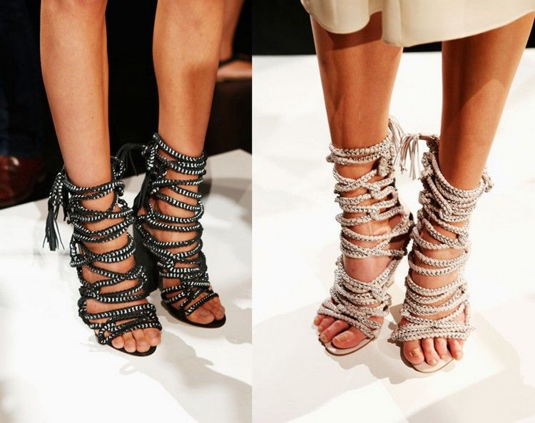 Womens Summer Sandals - Luxury Rhinestone Thin Heeled Sandals Strap Ankle Wrap Boots With Zipper