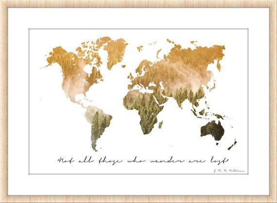 Wanderlust poster world map nature photography travel large digital wanderlust poster world map nature photography travel large digital photography print quote tolkien art print home gumiabroncs Image collections