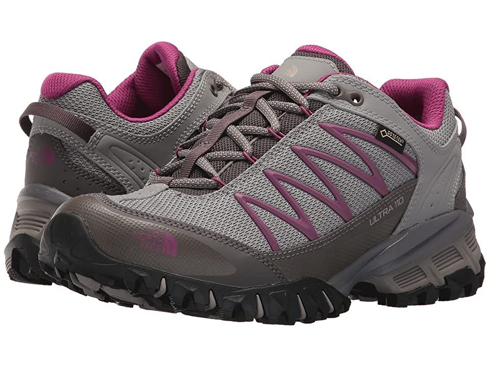 The North Face Ultra 110 GTX(r) (Q-Silver Grey/Wild Aster Purple) Women's Shoes. Take on the hardest trails with the superior protection and support of the Ultra 110 GTX trail shoe from The North Face. Stability trail-running shoe with subtle pronation correction. Breathable mesh and synthetic upper with a waterproof  breathable GORE-TEX membrane. Waterproof-leather rear quarter and mudguard. Lace up closure for a snug  custo #TheNorthFace #Shoes #Athletic #GeneralAthletic #Gray
