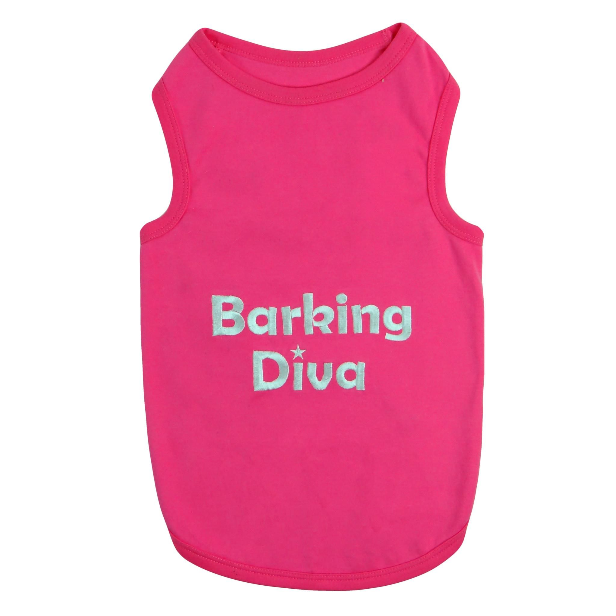 Pet Apparel | Barking Diva Pet Apparel  $12.99 Embroidered Saying Comfortable 100% Cotton Soft, high-quality substantial knit fabric Machine-washable for easy care Hot Pink