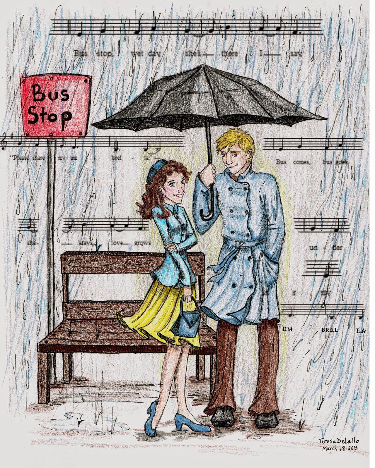 Bus stop the hollies couple drawings bus stop couple art umbrellas pencil