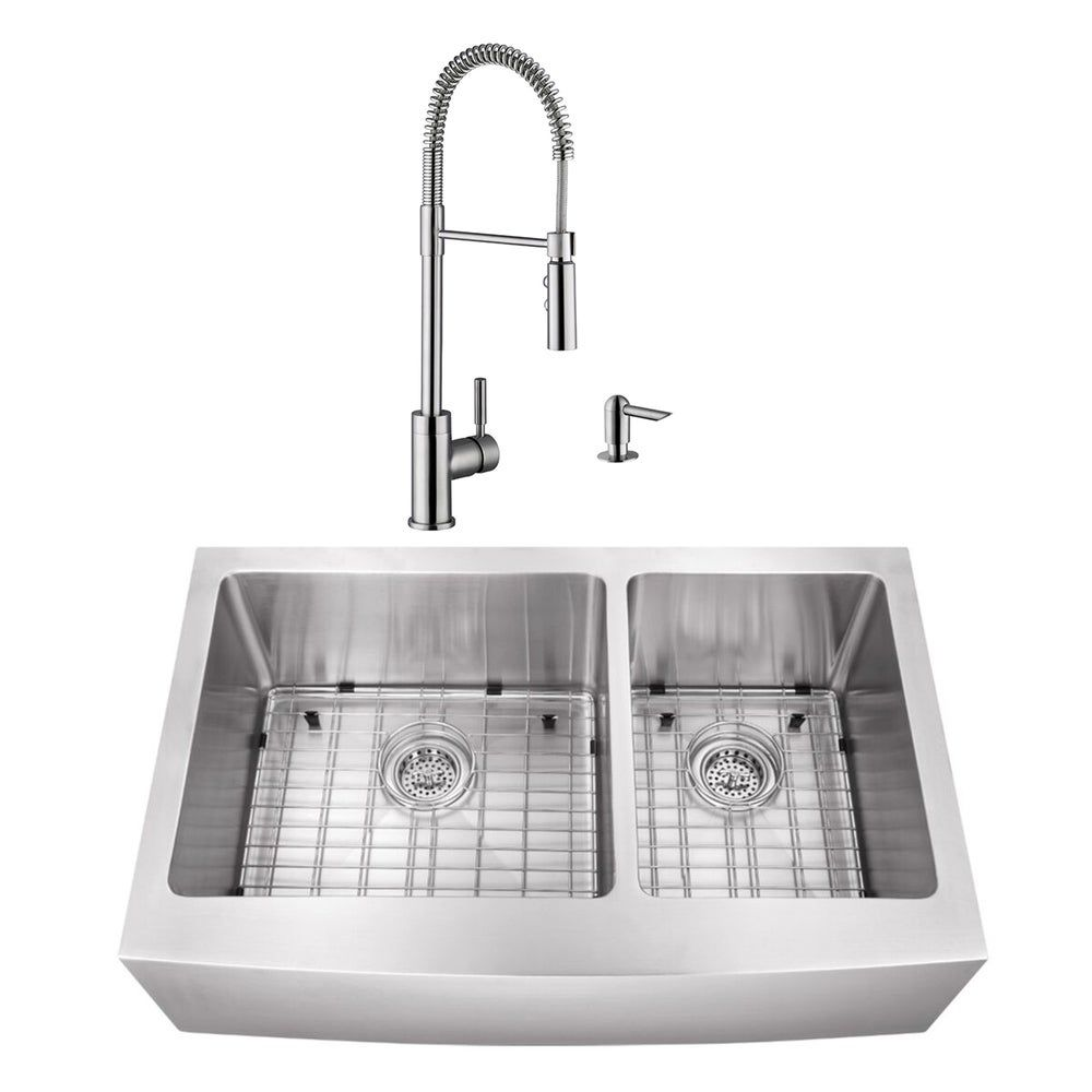 32 7 8 In 60 40 Apron Front Stainless Steel Kitchen Sink Industrial Faucet Silver Cahaba Sink Double Bowl Kitchen Sink Steel Kitchen Sink