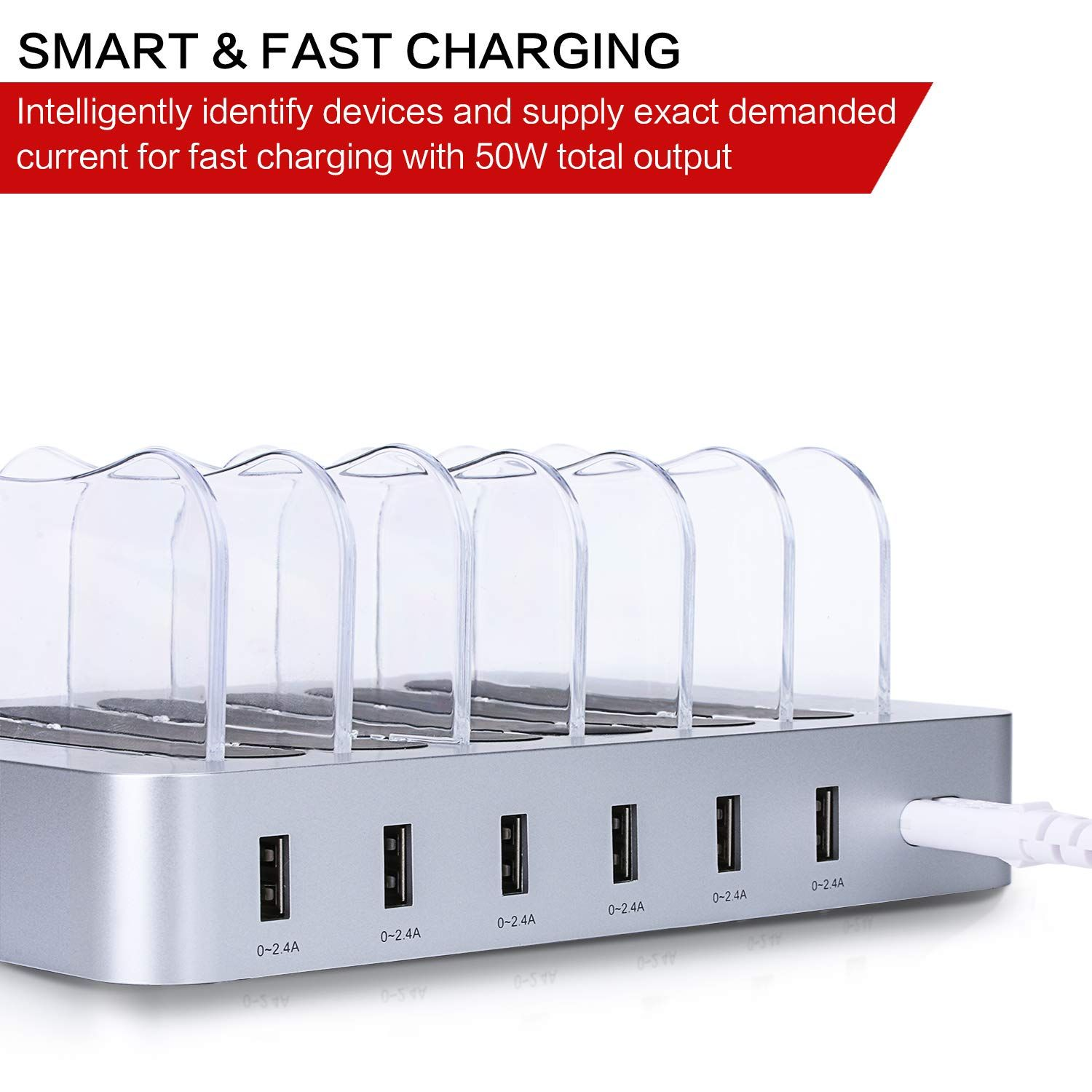 50W Fast Charging Stand with Smart Identification Technology Universal and Compact Charging Organizer for iPhone//iPad//Samsung//Tablet//Kindle and More 6 Ports USB Charging Station
