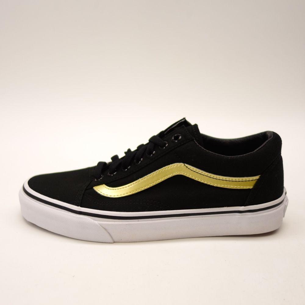 New Vans Womens Old Skool Black Canvas Lace Skate Sneaker Shoes Left