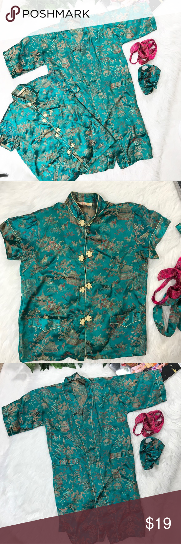 4052caaa02 Girls Chinese Robe   Top Set Jade Green Vintage Girls Chinese Robe   Top  Set Jade