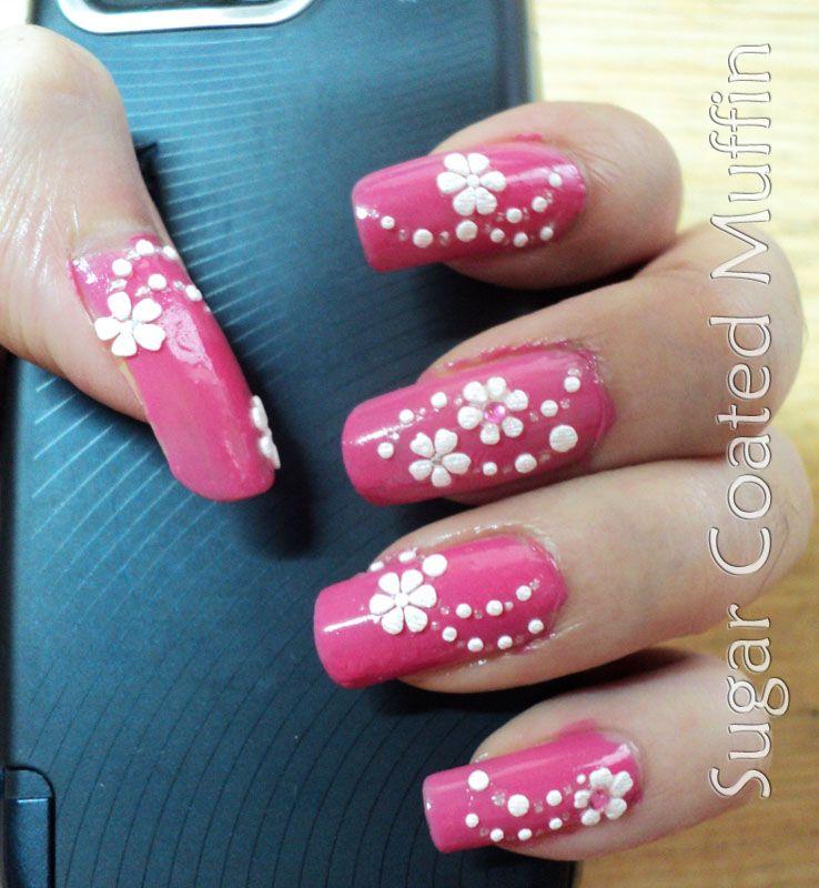 Nails Notd Pink Nails White Flower Stickers Pink Nail Colors Pink Nails Dot Nail Designs