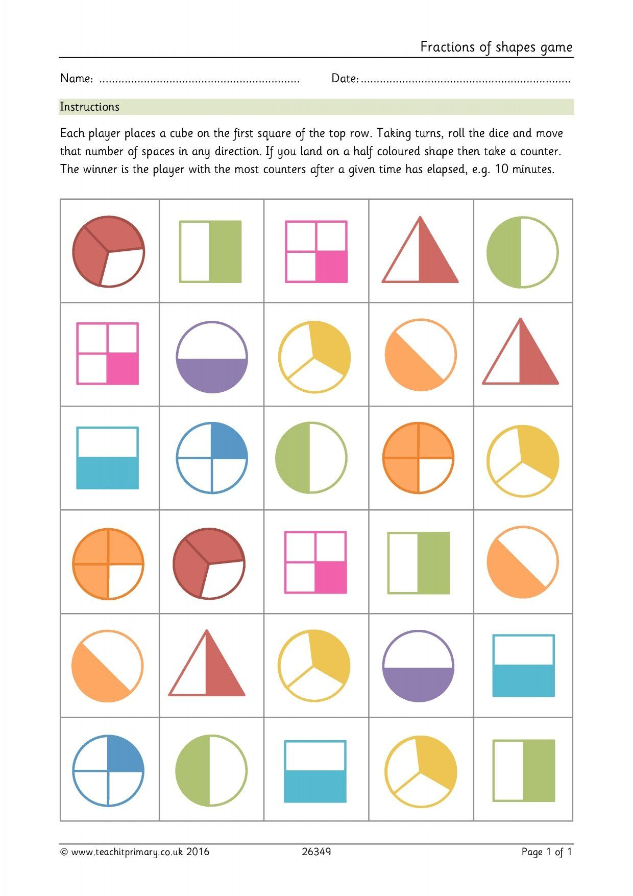 Fractions Of Shapes Game