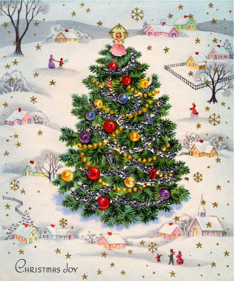 Around The Christmas Tree Vintage Christmas Cards Christmas Tree Glitter Christmas