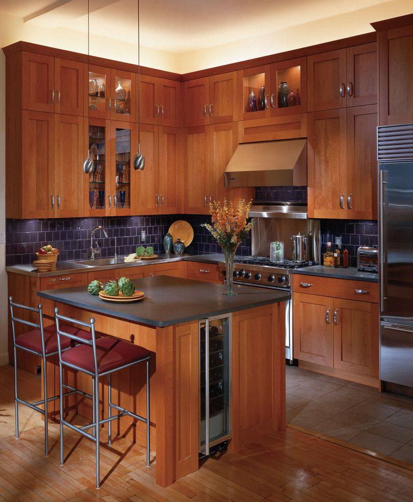 Cherry Kitchen Cabinet Doors: Kitchen. Captivating Brown Color Wooden Kitchen Cabinets