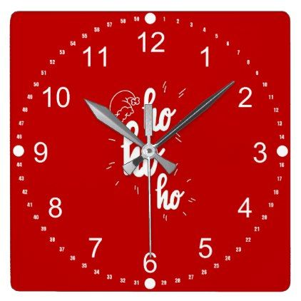 red and white ho ho ho merry christmas square wall clock - Hohoho Merry Christmas