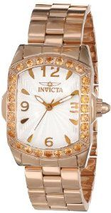 Invicta Women's 14137 Lupah Silver Textured Dial 18k Rose Gold Ion-Plated Stainless Steel Watch