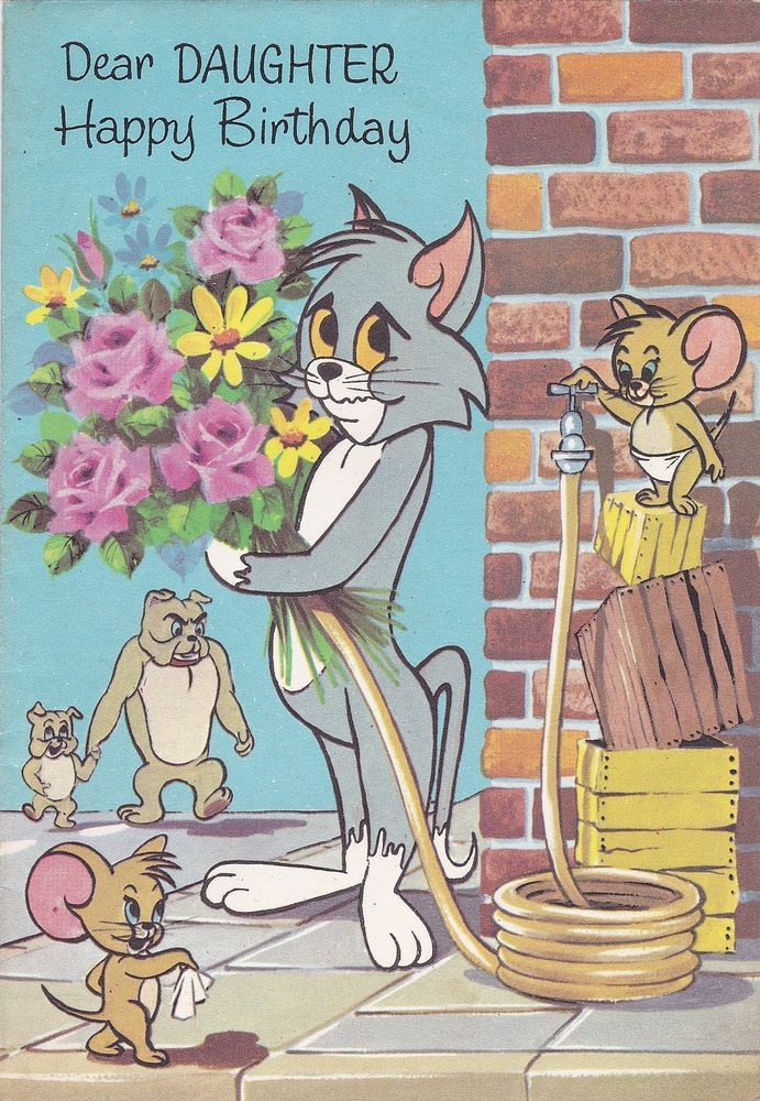 Vintage Tom Jerry Birthday Card Mason S Cards Spike Tyke The