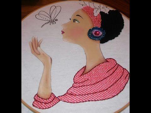 bordado fantasia flor de la africana - YouTube