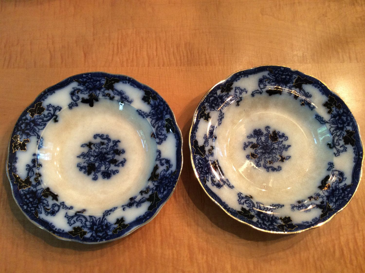 Burgess & Campbell Royal Blue Double Circle Flow Blue Soup Bowls ...