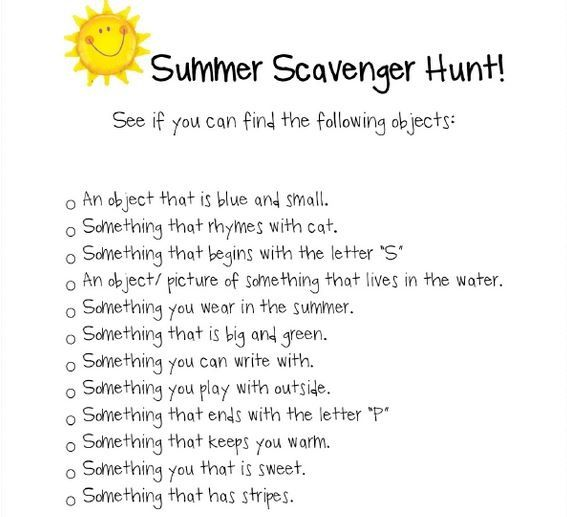 Outdoor Scavenger Hunt Ideas For Summer, Hiking, Nature