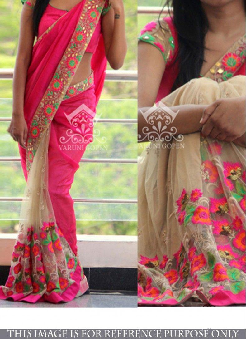 Hot pink and orange dress  Cream and Hot Pink Net Stylish Saree  Sarees  Pinterest  Saree