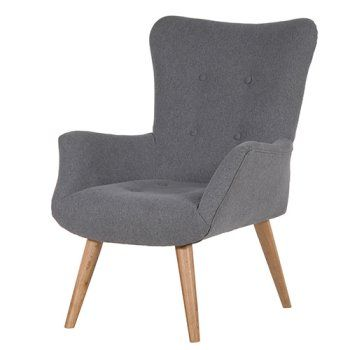 Contemporary Grey Fabric Wing Armchair