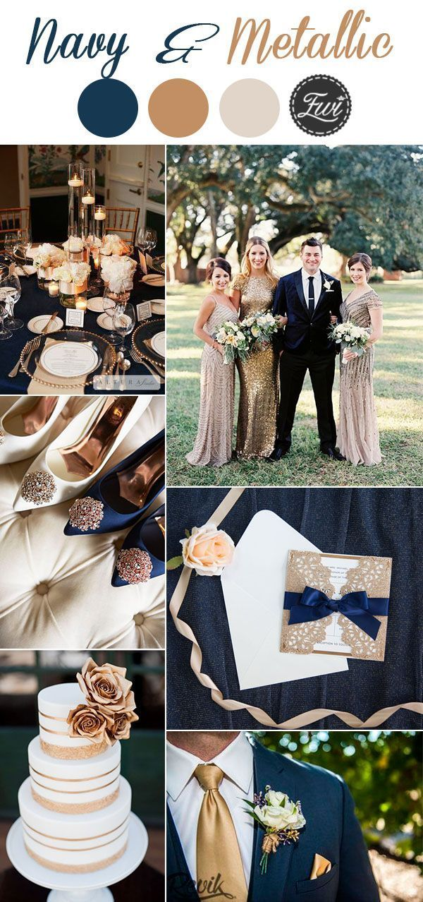 7 Classic Navy Blue Wedding Colors with Matching Wedding Invitations -   15 wedding Rose Gold inspiration boards ideas