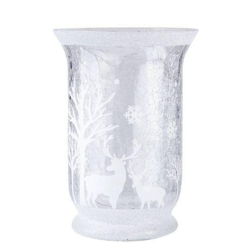 Large Glass Woodland Scene Christmas Candle Holder