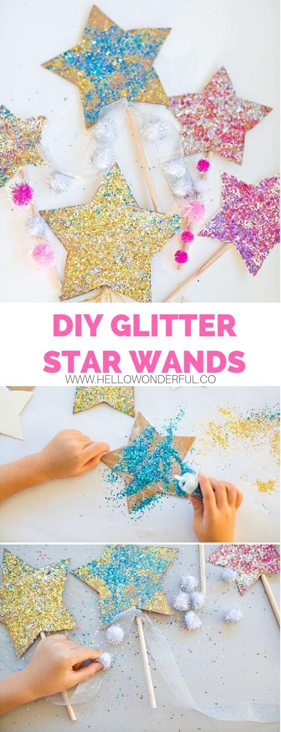 DIY GLITTER STAR WANDS