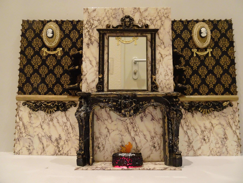 Miniatur 1 12 Mobelset Schwarz Und Gold Mit Beleuchtung Kamin Spiegel Tisch Stuhle Ooak Puppenhaus Dolls House Handmade Kamin Spiegel Dekor Und Teewagen