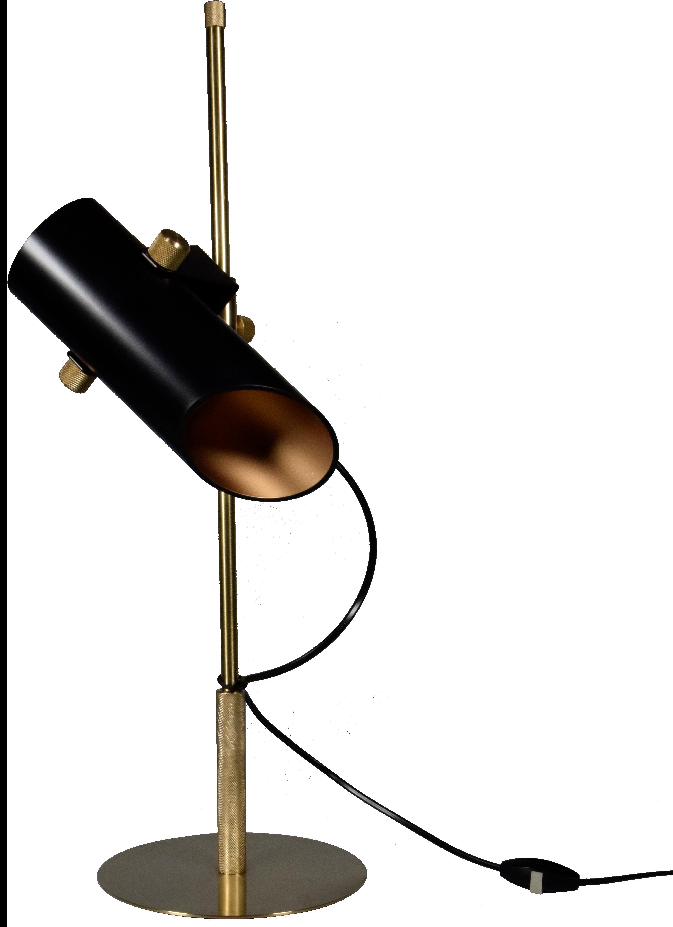 Structure En Laiton Massif Usine Tube Reflecteur En Aluminium Laque Noir Et Or Systeme De Boulon Qui Permet Un Lampes De Table Lampe Design Lampe De Lecture