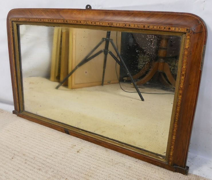 Victorian inlaid walnut overmantle mirror mirrors for Overmantle mirror