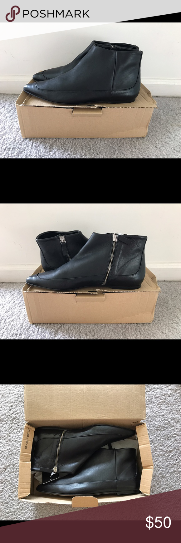 NWT Zara Black Flat Ankle Booties Never worn! Ordered 2 pairs & never returned them! Black leather. Euro size 39. USA 8. Zip on sides. Zara Shoes Ankle Boots & Booties