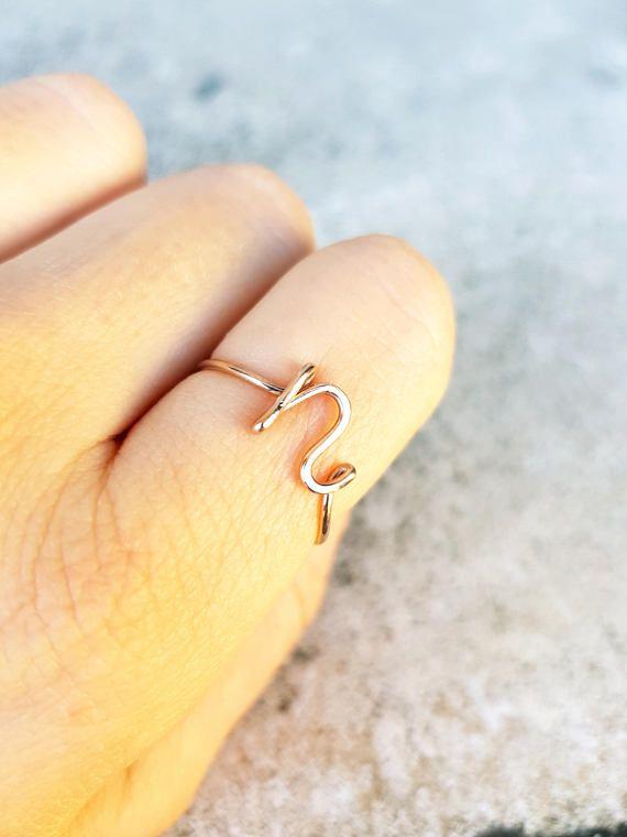 Initial Letter N Ring 22k Rose Gold Initial N ring Letter Ring ...