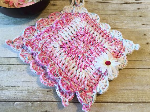 Crochet Pot Holder Kitchen Pot Holder by CraftCreationsbyRose