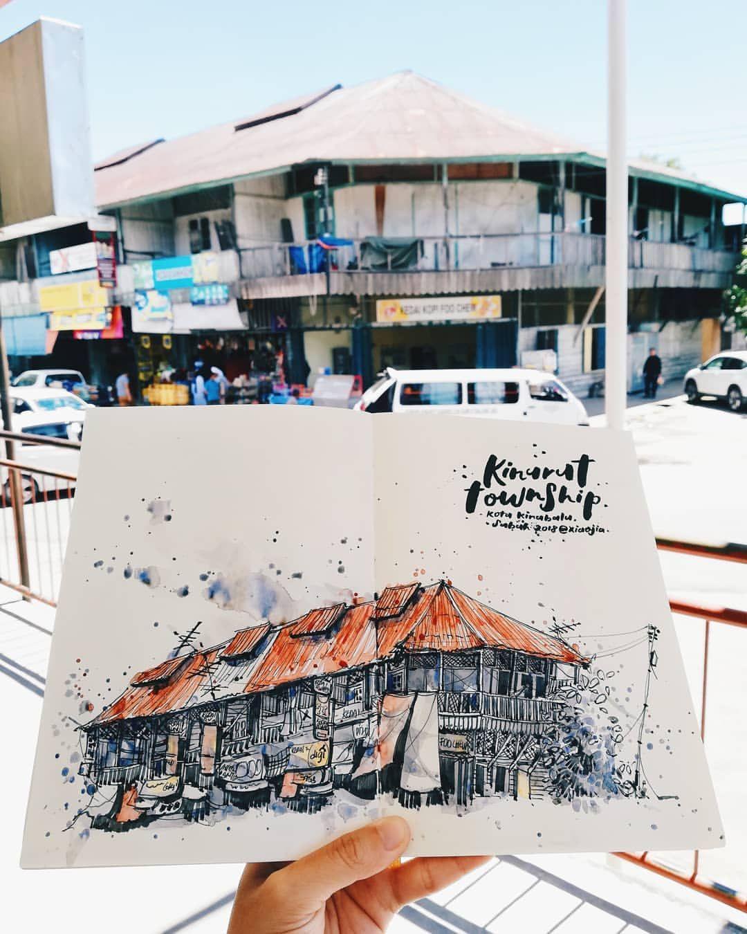 Casual Sketching With Fellow Sketchers From Usk Kota Kinabalu Sabah A Sketch Of Old Wooden Shop House In Kinarut Town Sabah Kota Kinabalu Photo Wall