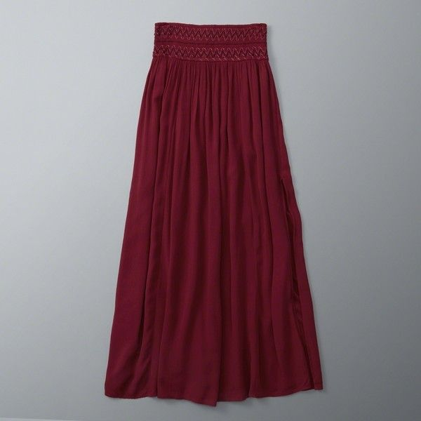 70a5553a00 Abercrombie & Fitch Embroidered Smocked Maxi Skirt ($68) ❤ liked on  Polyvore featuring skirts, red, floor length maxi skirt, purple skirt, long  red skirt, ...