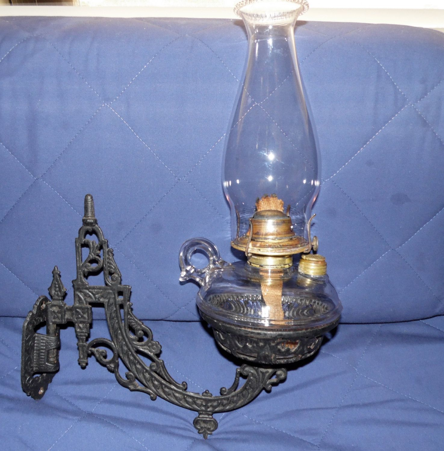 B&H Wall Sconce Oil Lamp Cast Iron 1881 Patent Antique Bradley ...