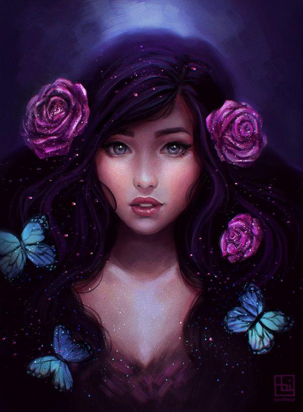 Иллюстрированные картинки для аватарок девушек, открытки