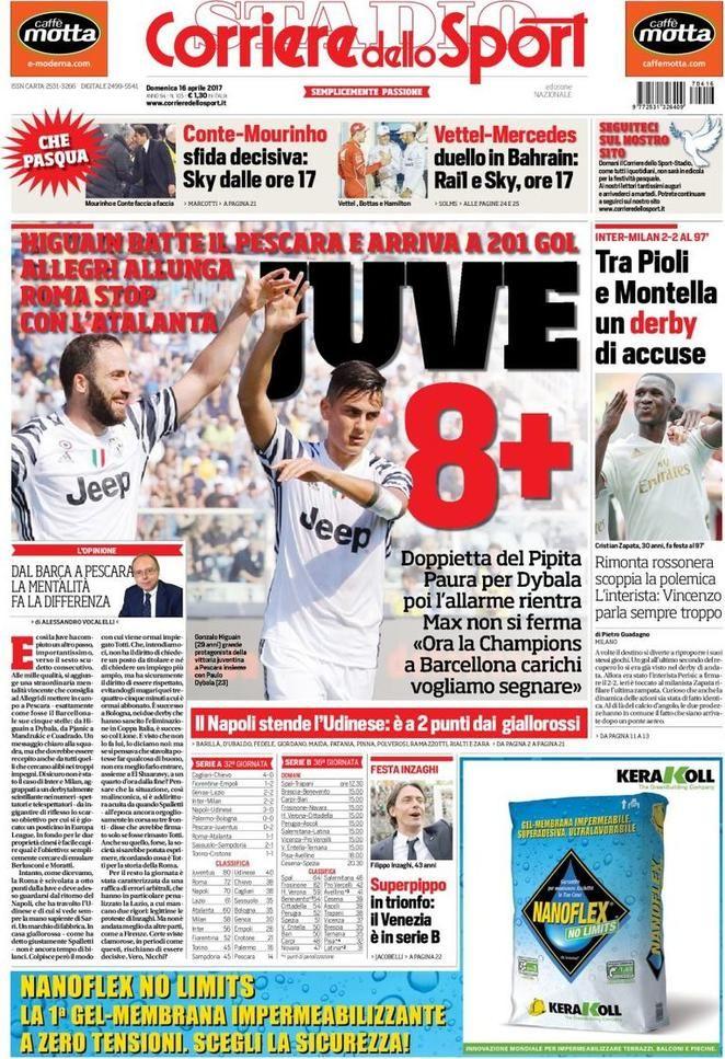 Prima Pagina Corriere dello Sport 16/04/2017 (con immagini