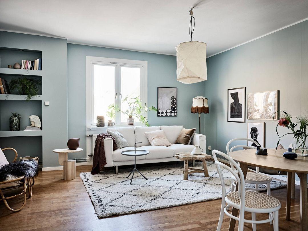 Peinture Gris Bleuté Clair le bleu est amoureux en 2020 | décoration salon bleu, salon