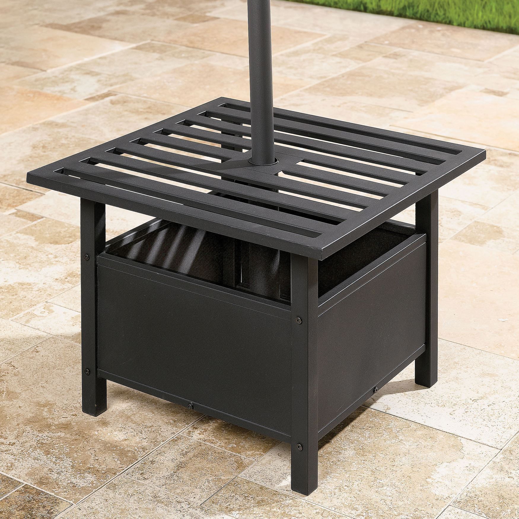 160 Square And Sturdy Our Umbrella Stand Side Table Is Perfect For Holding Drinks And Snacks Patio Table Umbrella Patio Umbrella Stand Patio Umbrella Bases
