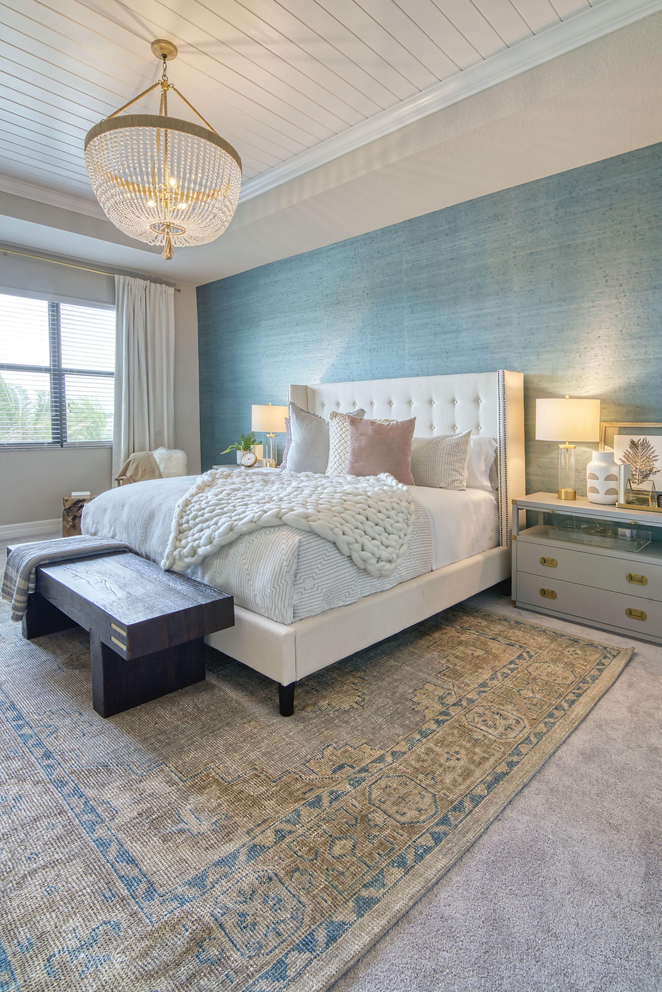 Master bedroom inspiration wallpaper grasscloth