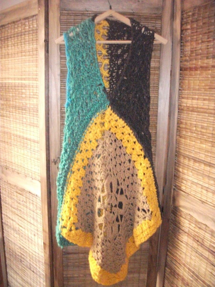 627e81a70 Poncho Chaleco Artesanal Tejido A Mano Crochet - Unico!!! - $ 450,00 ...