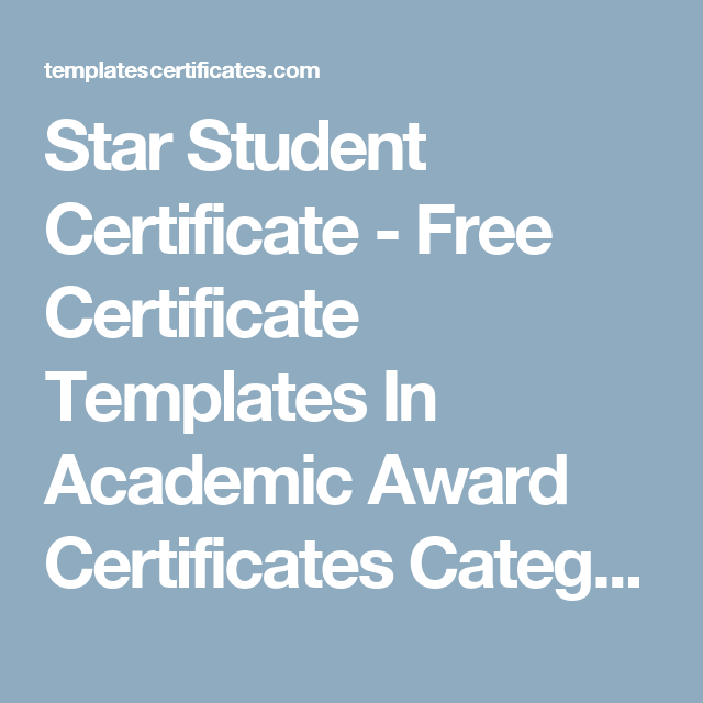 Star Student Certificate - Free Certificate Templates In Academic ...