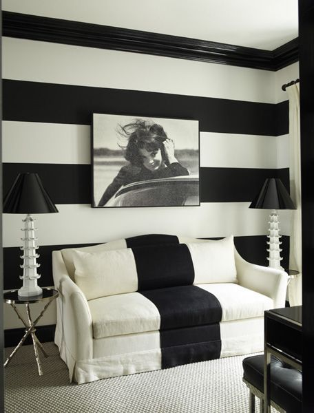 Image Result For Black And White Striped Walls Monochromatic Living Room Wallpaper