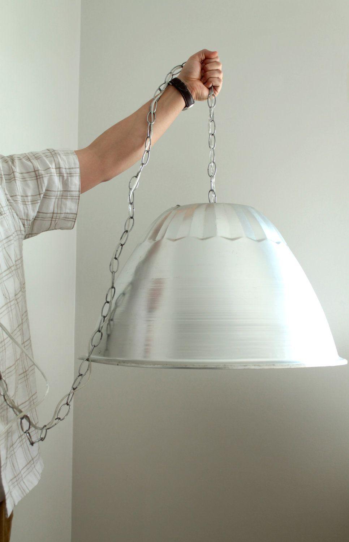 Light Fixture Swag Lighting Dome Shape Silver Metal Vintage Modern 100 00 Via Etsy