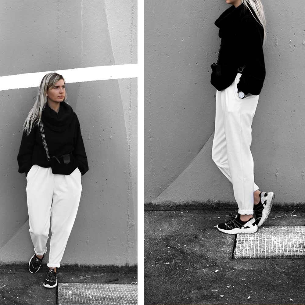 Black white outfit // Top pants sneakers
