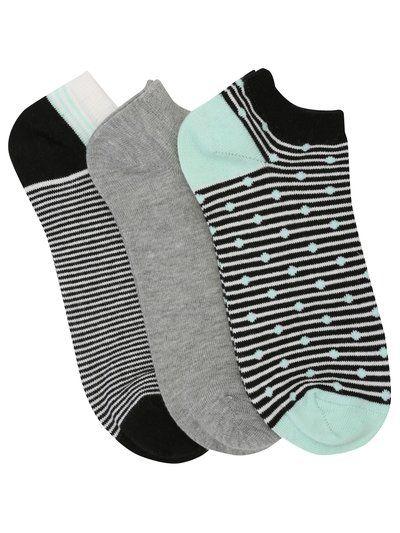 Spot and stripe trainer socks three pack