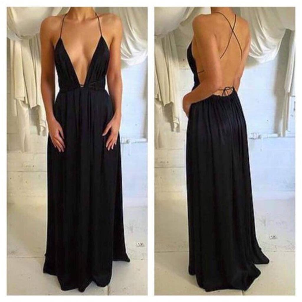 Deep vneck sexy black chiffon prom dresses spaghetti backless prom