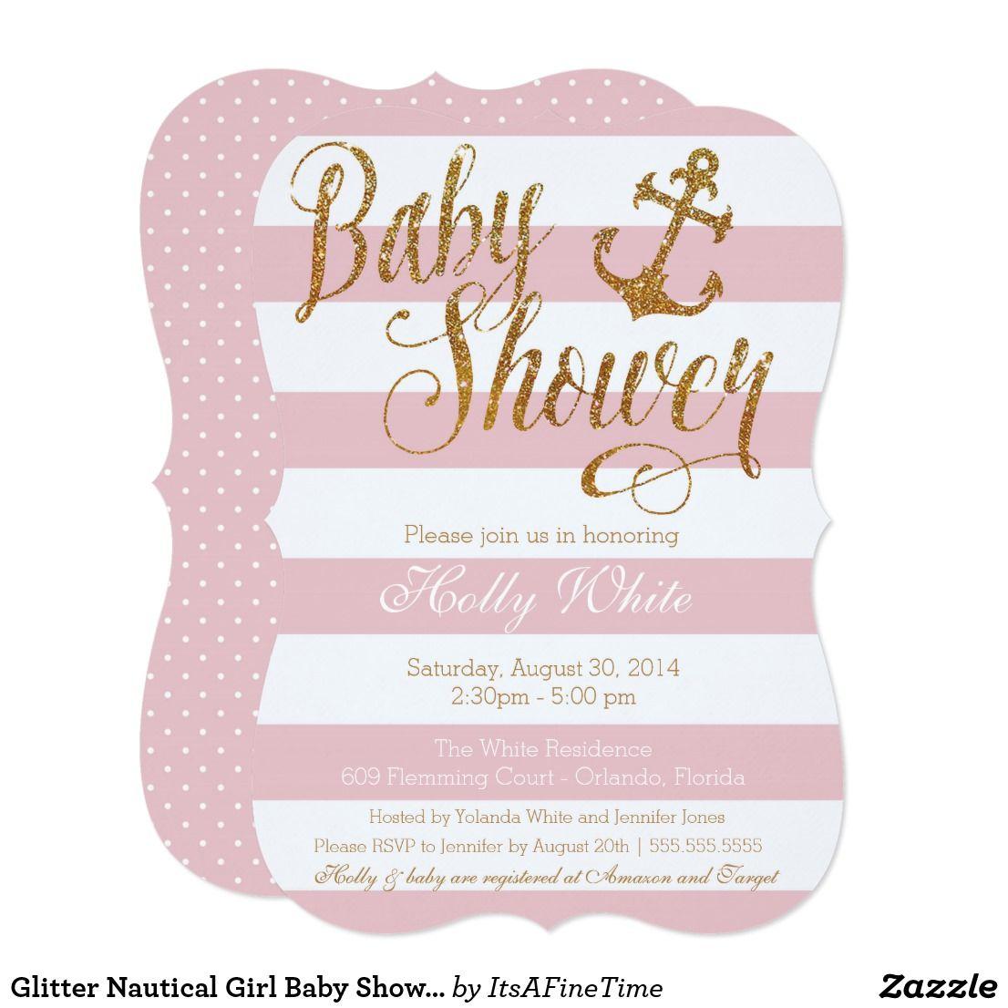 Glitter Nautical Girl Baby Shower Invitation | Nautical theme baby ...