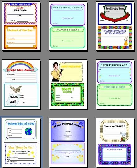 free printable student achievement awards for teachers school