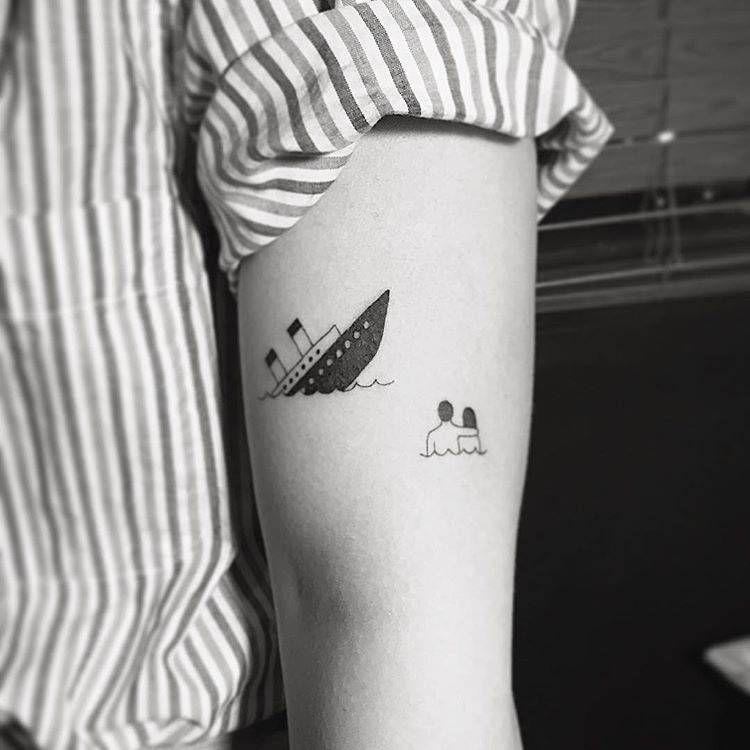 Titanic Tattoo On The Left Bicep Titanic Tattoo Movie Tattoos Colour Tattoo For Women
